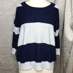 Madewell Wallace Blue Cream Striped Sweater Sz Med